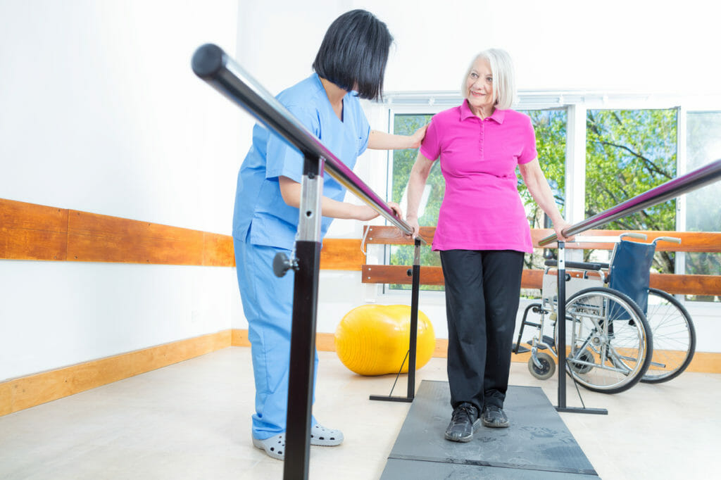 older women relearning to walk after surgery