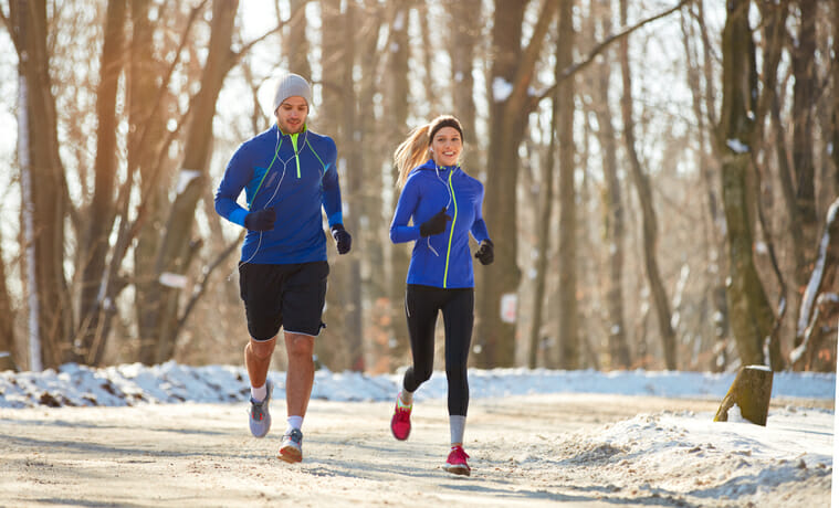 people running in the winter