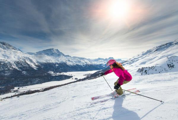Female skier on track