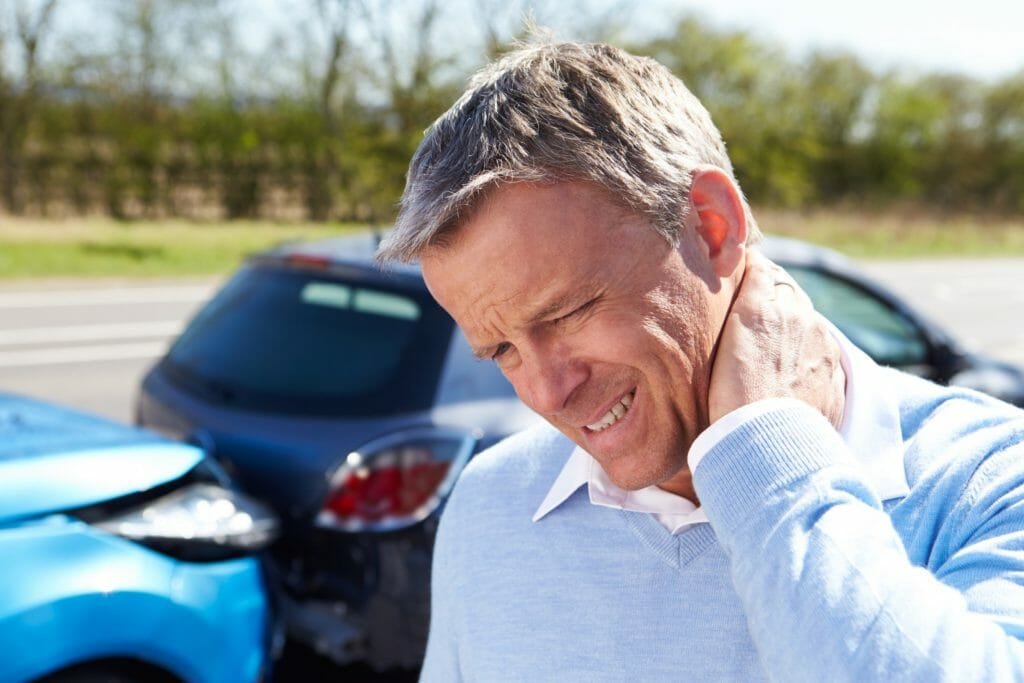 Man with whiplash after traffic collision