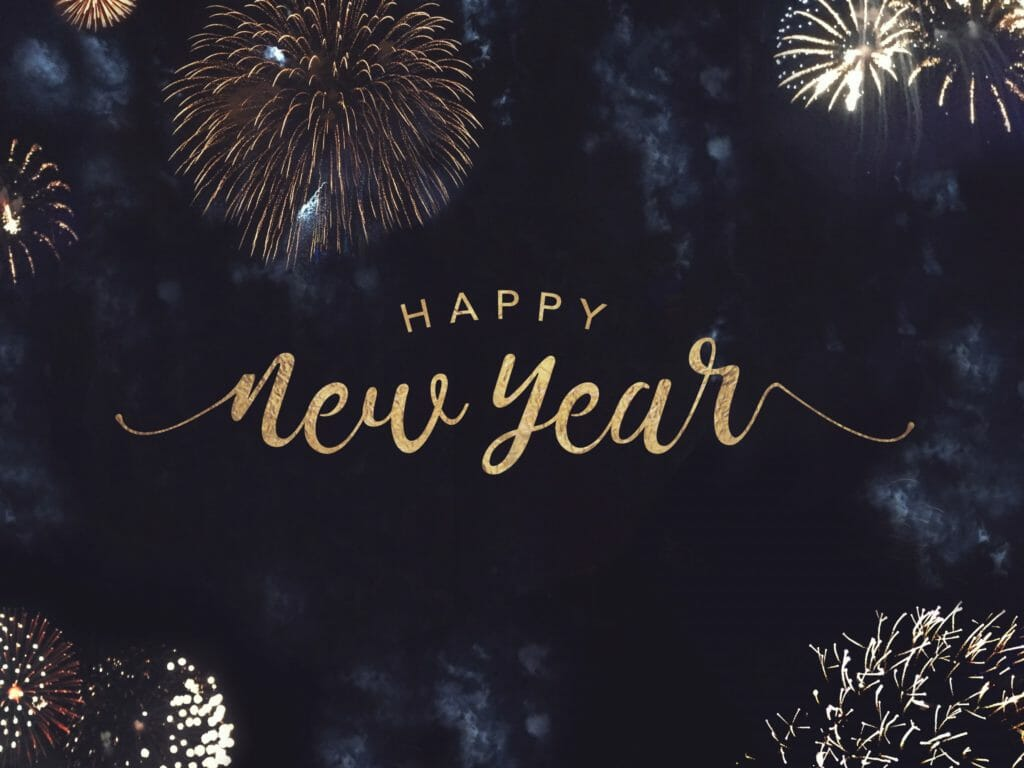 Happy New Year Text with Gold Fireworks in Night Sky