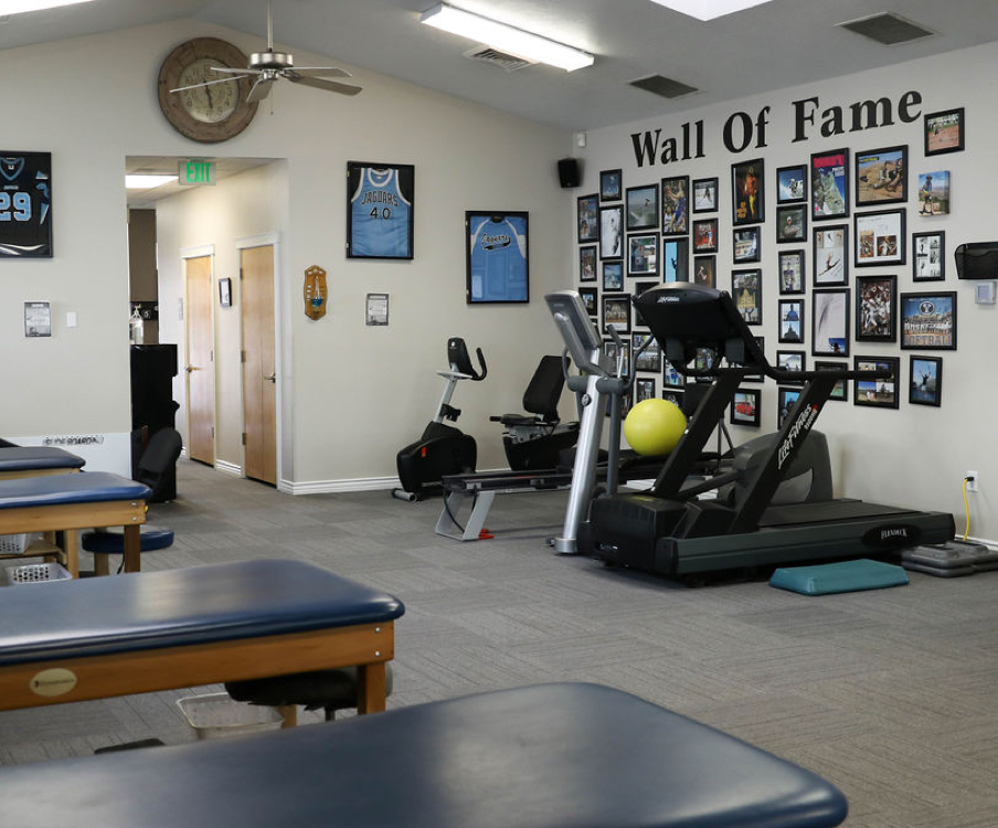 Wall of fame in West Jordan physical therapy gym